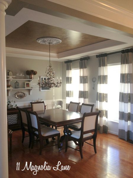 Striped painted window treatments at 11 Magnolia Lane