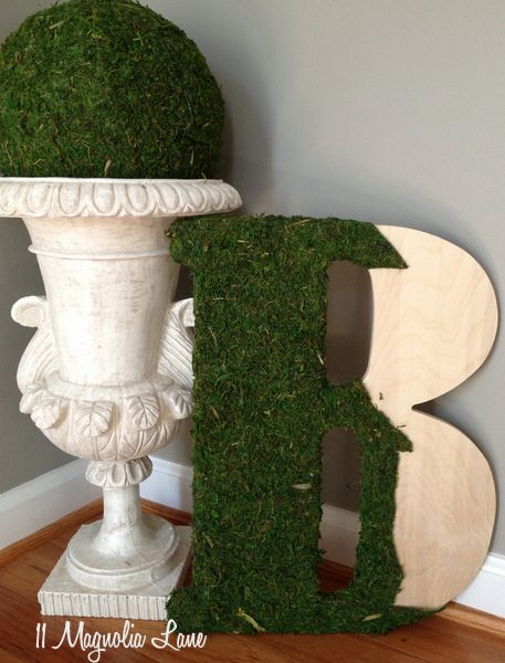 DIY Moss Sphere and partially completed initial letter
