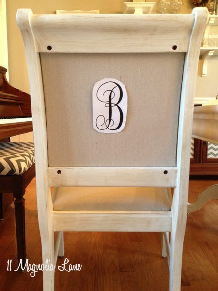 Monogram on back of chair