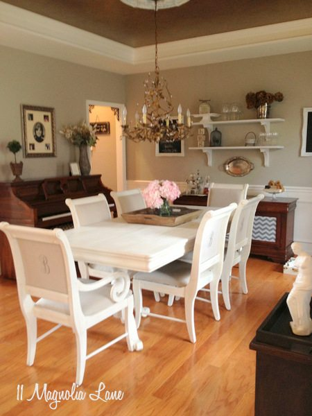 Colors To Paint A Dining Room white chalk painted dining room table & monogrammed chairs | 11