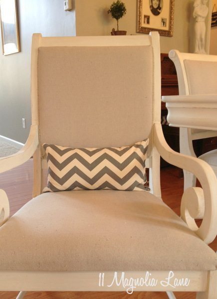 Gray chevron lumbar pillow. White Chalk Painted Dining Room Table   Monogrammed Chairs   11