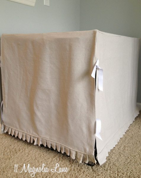 DIY slipcover for giant dog crate | 11 Magnolia Lane
