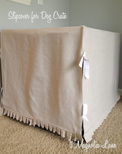 How to {sort of} Disguise a Dog Crate With a Slipcover