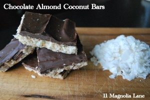 chocolate almond coconut bars