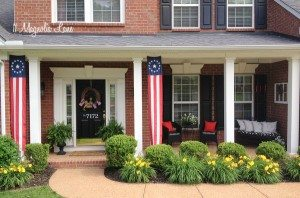 Memorial Day porch--red, white, and blue   11 Magnolia Lane