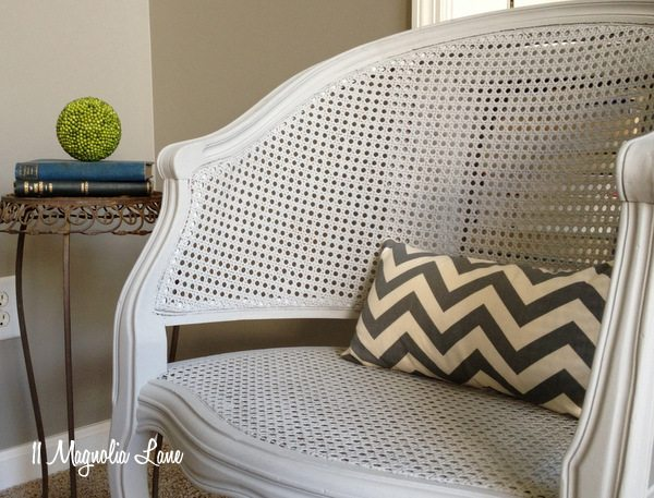 gray chalk painted cane chairs