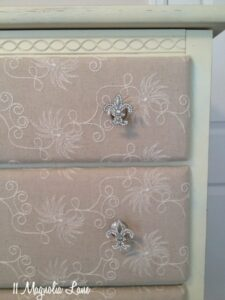 Progress on My Painted, Fabric-Covered Dresser