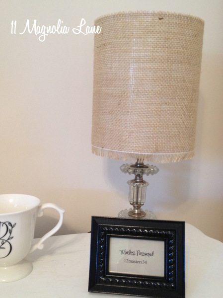 Diy burlap drum lamp shade 11 magnolia lane burlap lamp shade aloadofball Choice Image