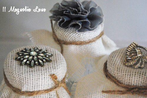 burlap and jewel embellished mason ball glass jars