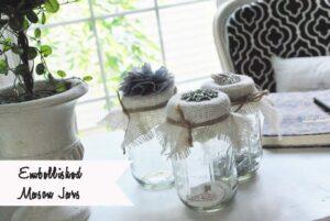 Burlap & Bling Embellished Mason Jars