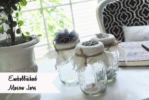 burlap and jewel embellished mason jars DIY