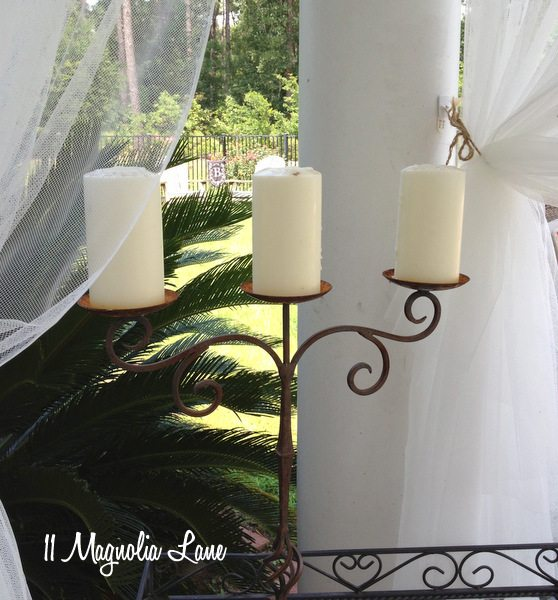Candleabra on covered porch