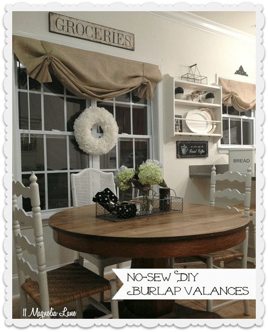 No-sew DIY burlap window valances | 11 Magnolia Lane
