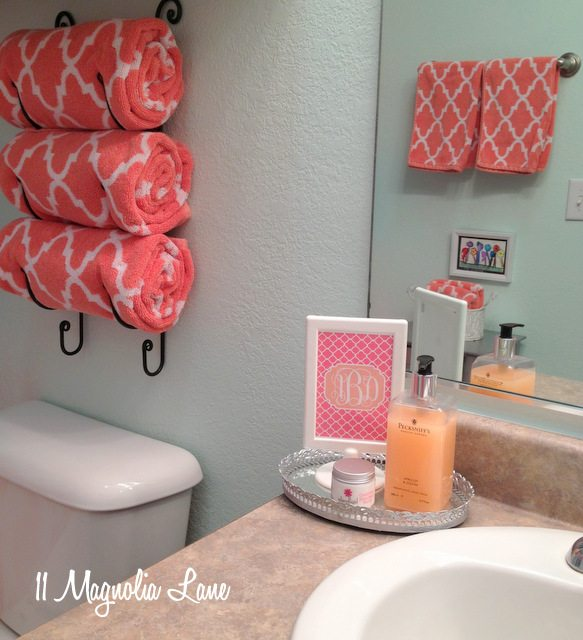 aqua coral bathroom girls