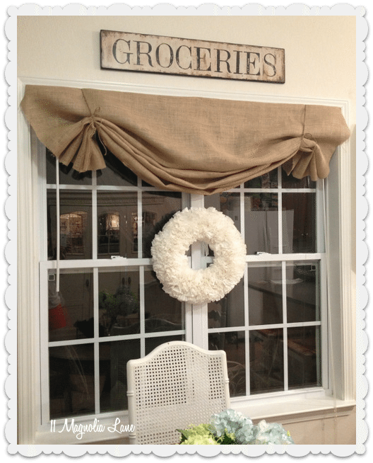 how to DIY burlap window valance