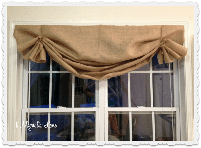 burlap valances two ties