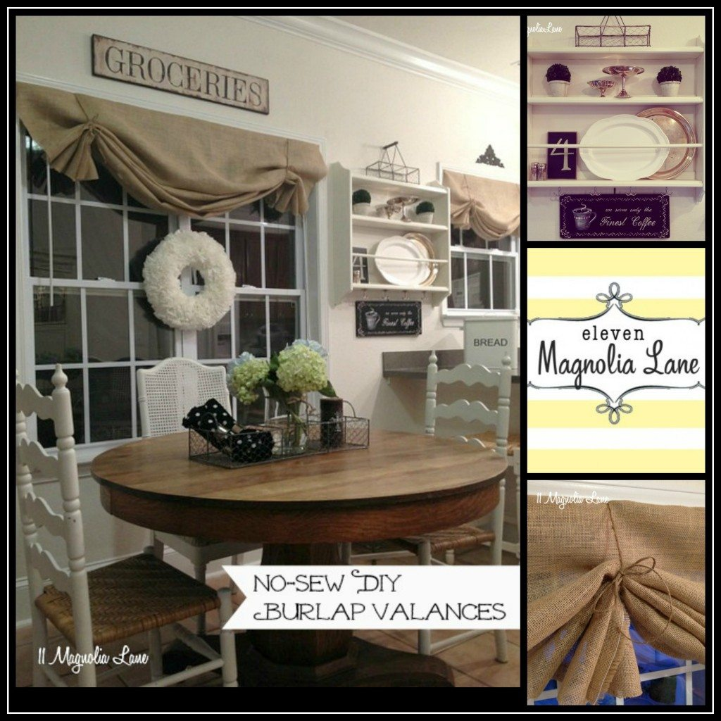 burlap valances collage