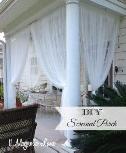 DIY Screened porch using inexpensive sheer curtain panels | 11 Magnolia Lane