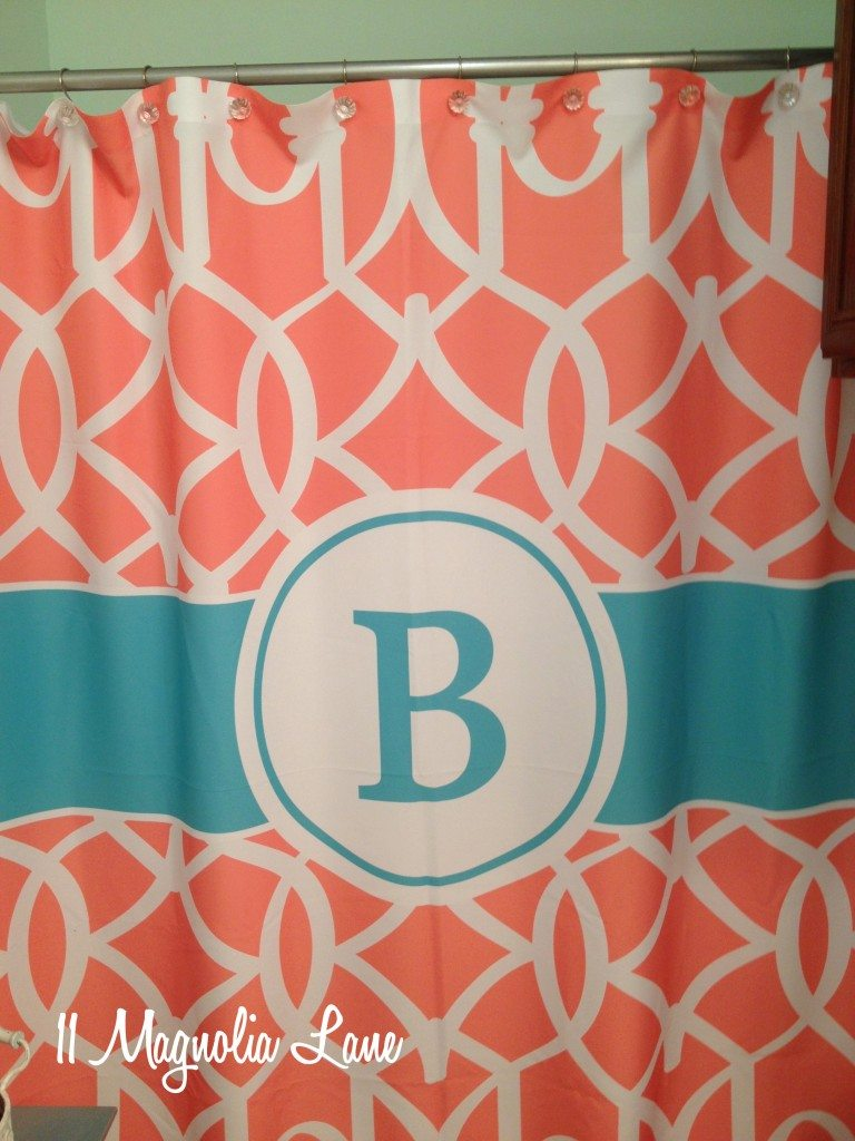 monogrammed shower curtain aqua coral