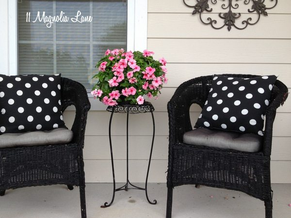 Front porch with pink, black, and white accents