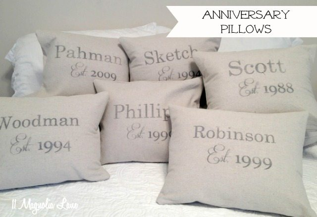 anniversary date pillows drop cloths