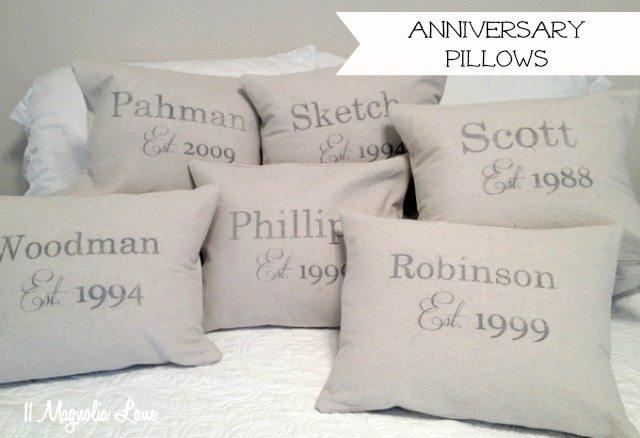 anniversary date pillows drop cloths