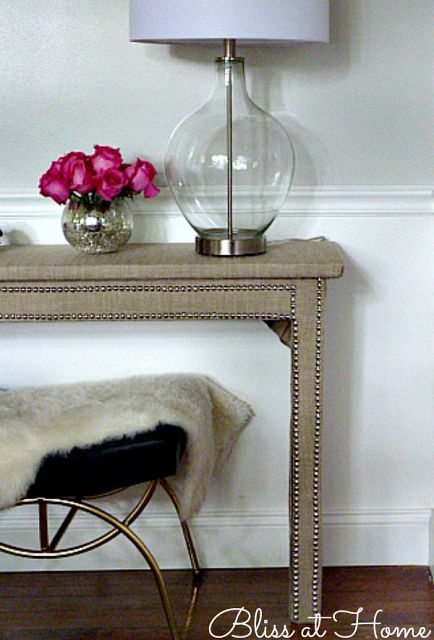 nailhead trim burlap table