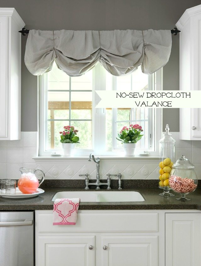 no sew valance canvas dropcloth canvas painters dropcloth curtains