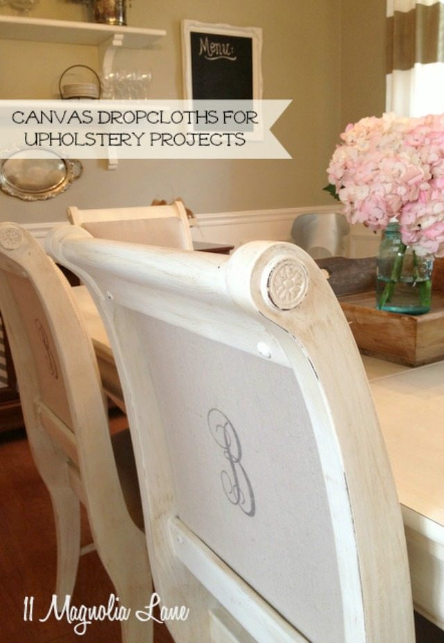 chalk painted dining table chairs canvas drop cloths