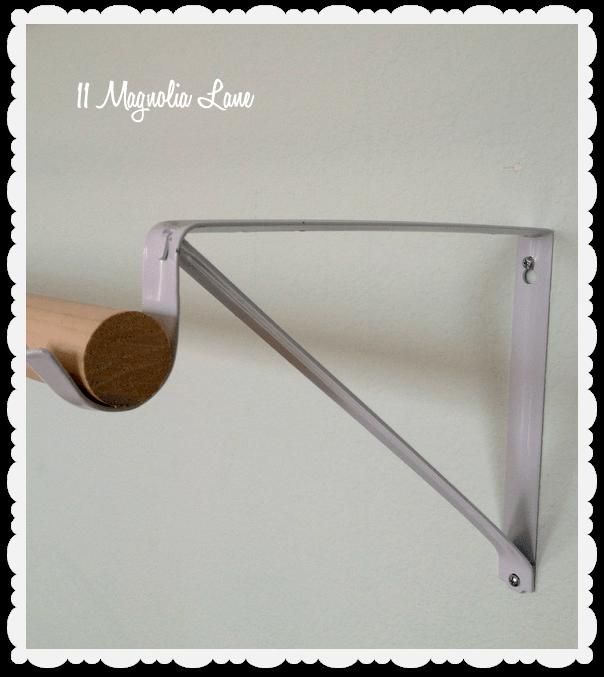 closet bracket as DIY ballet barre