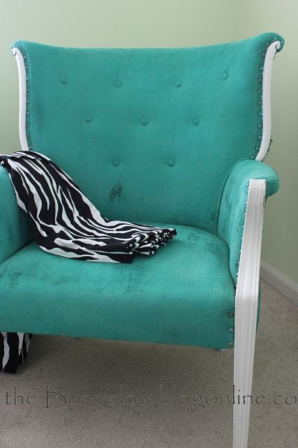 teal fabric velvet painted chair