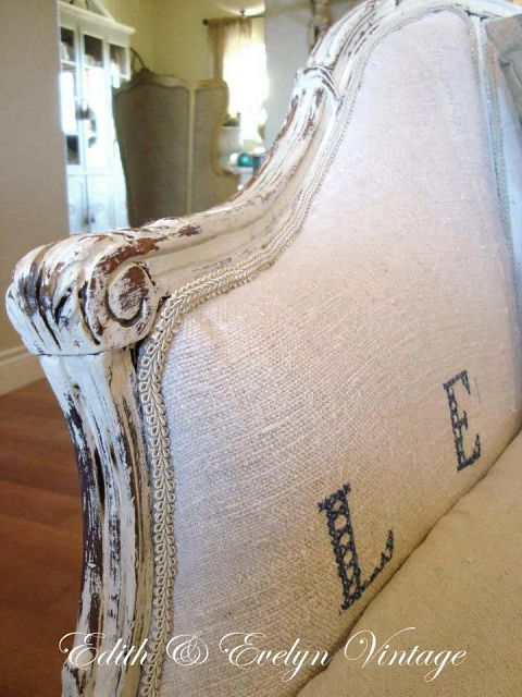 grain sack dropcloth covered sofa