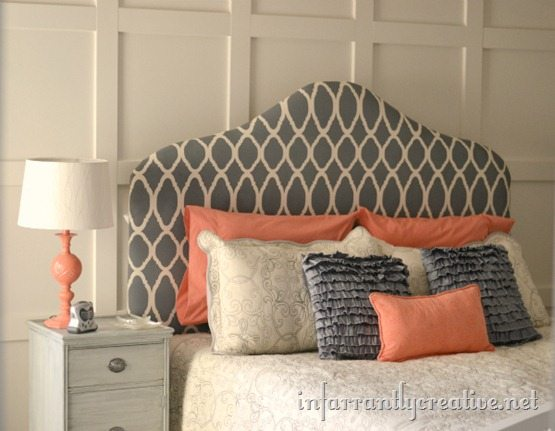 gray painted headboard