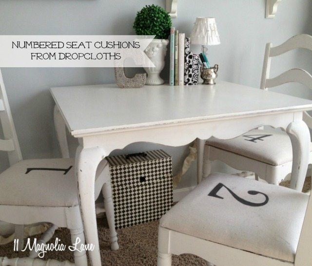 stenciled numbered chair seat cushions drop cloths