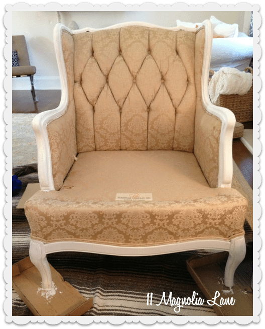 painted fabric chair white trim