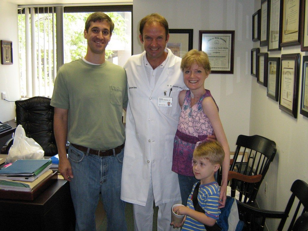 Steph, her surgeon, and her family post-transplant