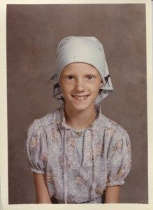 My cousin Stephanie's school picture during chemotherapy