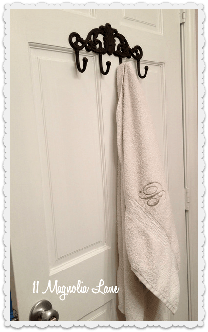 towel hooks on bathroom door