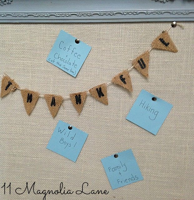 Thankful bulleting board with messages and burlap banner