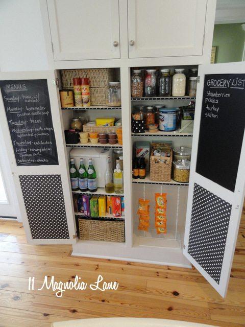 black white chalkboard pantry