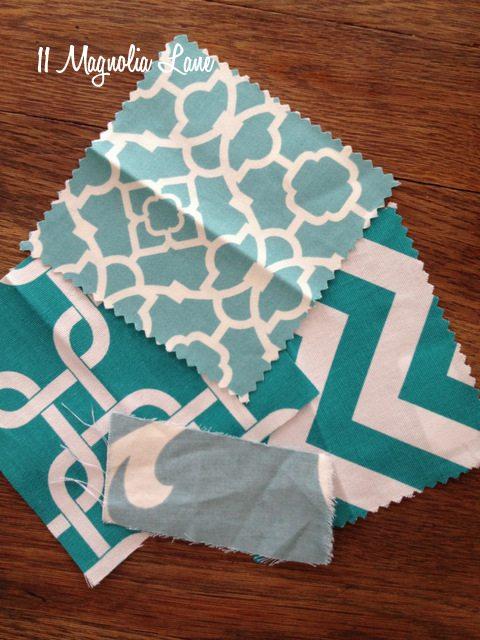 aqua white fabric trellis
