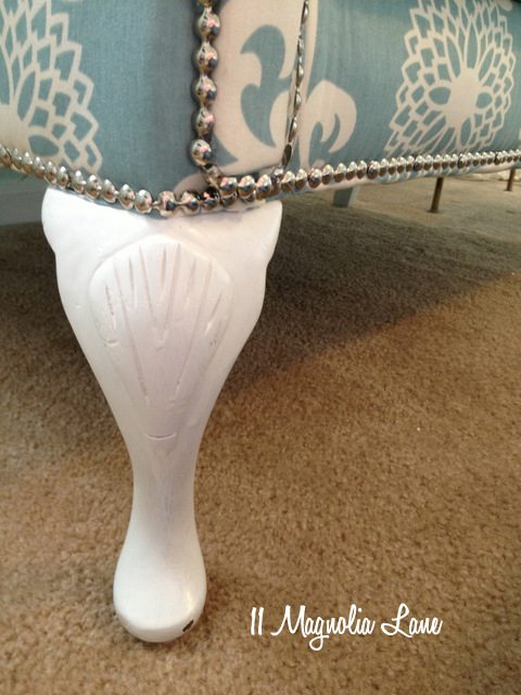 nailhead trim white painted leg