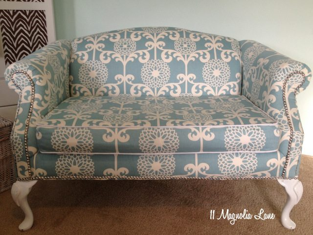 aqua white loveseat