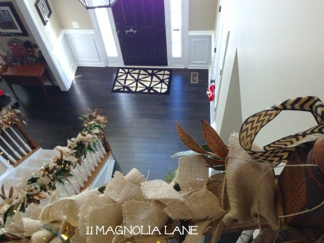 Foyer_Burlap_Garland_Down_Stairs