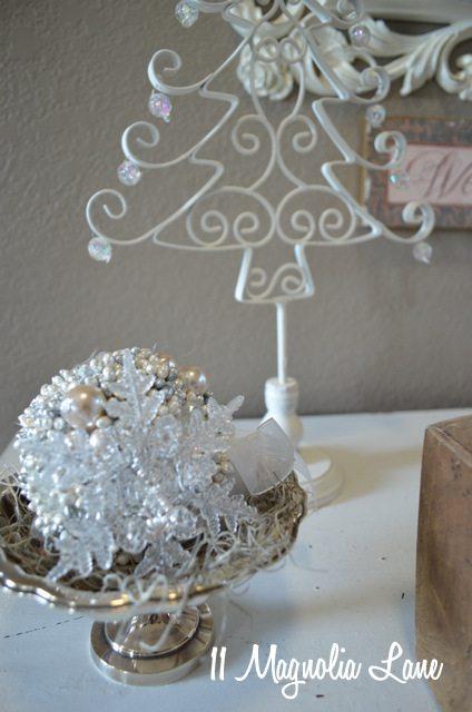 white silver tree christmas