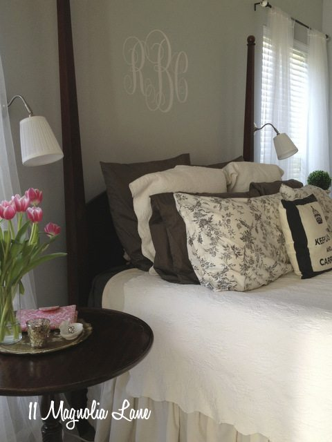 dark wood furniture pale blue gray walls