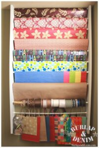 Operation: Organization 2014 ~ Gift Wrapping Station Organization from Burlap & Denim