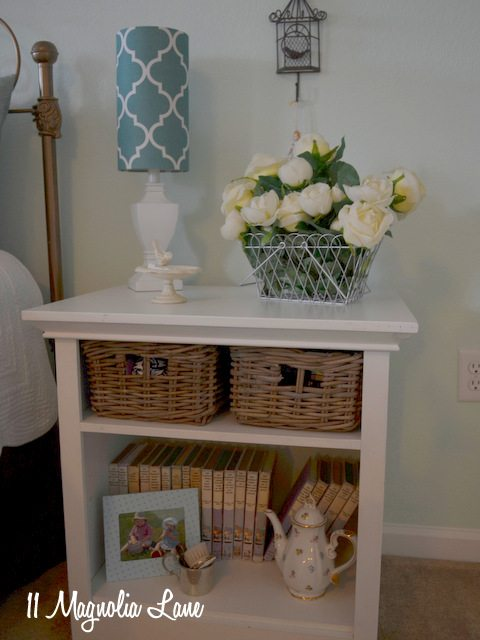 nightstand with baskets