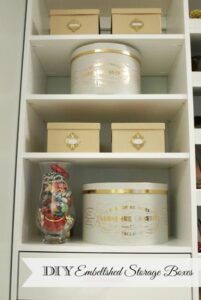 DIY embellished storage boxes