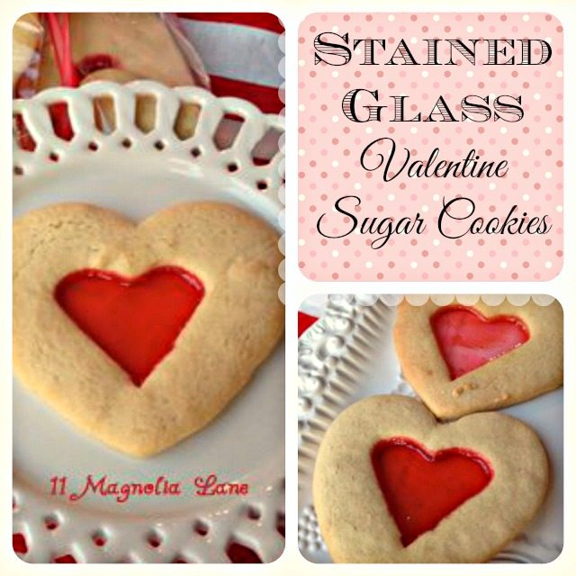 Stained Glass Valentine Sugar Cookies